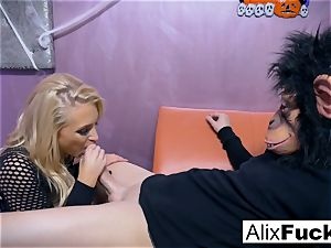 superstar Alix gets torn up by a fellow in a monkey mask
