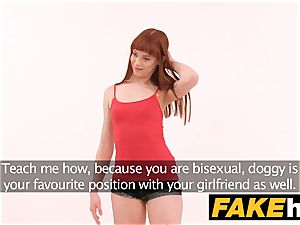 faux Agent internal cumshot for new red-haired american model