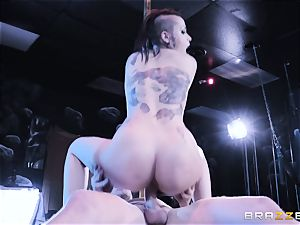Leigh Raven striped and romped
