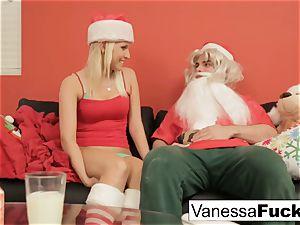 Vanessa letting Santa pummel her cock-squeezing wet vagina