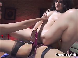 wild lesbians go ultra-kinky faux-cock ravaging their wet beavers