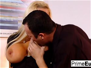 Sharon pink bangs in the office
