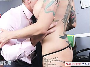 Anna Bell Peaks raw at the office for a great pulverize