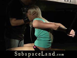 platinum-blonde nubile in restrain bondage hard nailing and throating