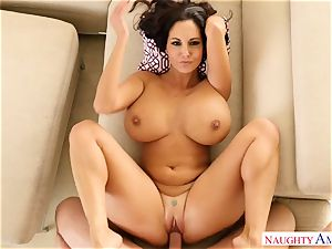 buxomy woman Ava Addams with ample curvaceous knockers takes her husband hard's pecker