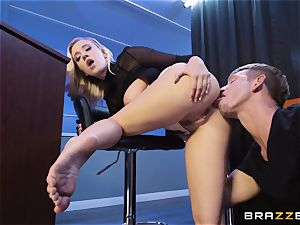 Bailey Brooke gets frolic with the draped bouncer
