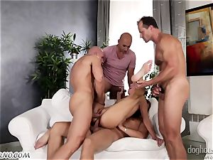Mass group sex with a youthfull breezy and four fellows