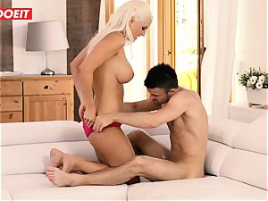 buxomy Stepmother gets dp by stepson and his buddy