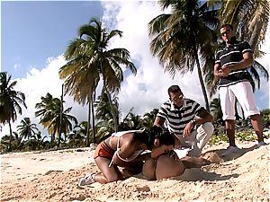 group smashing on sunny shores