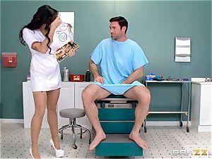 ballsack busting nurse Karlee Grey masturbates man rod with relief