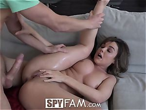 SpyFam Step step-sister curious about step bro man-meat