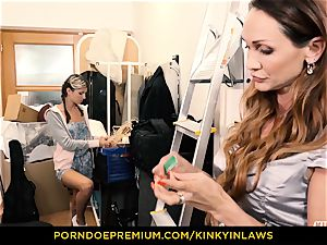 super-naughty INLAWS - Gina Gerson penetrated by mummy with electro-hitachi